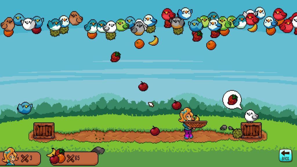 One of the minigames, a catch and deliver game where, as you'd expect, Durians are BAD.